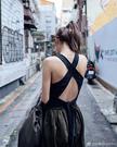 女神許路兒同款歐美露背交叉綁帶裹背運動背心T卹 小可愛內衣露背裝女上衣 含胸墊可外穿/澤米