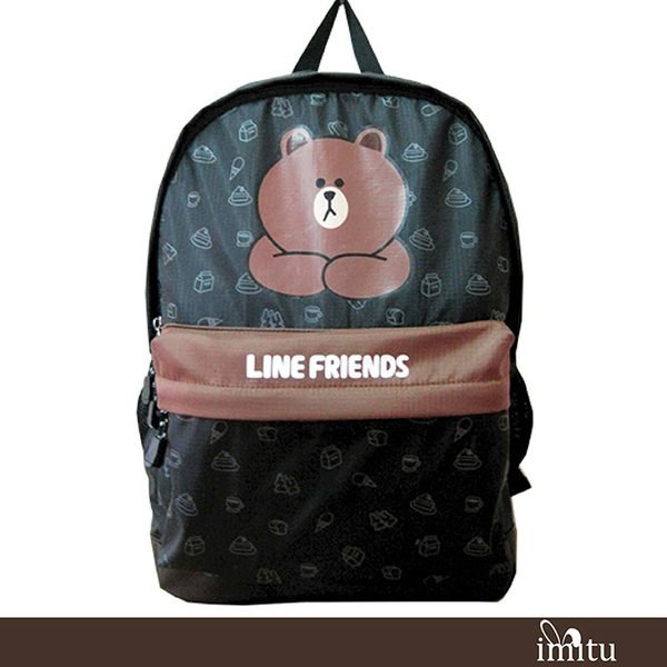 imitu  【LINE FRIENDS】休閒後背包(A款_咖_熊大)_OO