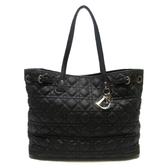 Dior 迪奧 黑色塗層帆布肩背包 托特包 Panarea Cannage Tote Bag 【BRAND OFF】