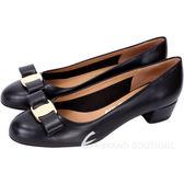 Salvatore Ferragamo VARA 牛皮蝴蝶結飾粗跟鞋(黑色) 1541081-01