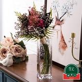創意歐式工藝品擺件錘紋方口花瓶透明描金玻璃花瓶客廳【福喜行】