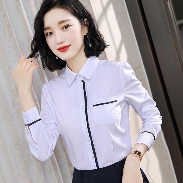 襯衫領配色口袋長袖OL襯衫 [9X424-PF]美之札