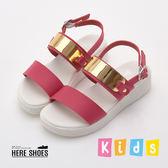[Here Shoes]MIT台灣製金屬皮革一字魔鬼氈涼拖鞋女童鞋涼鞋─AN3738
