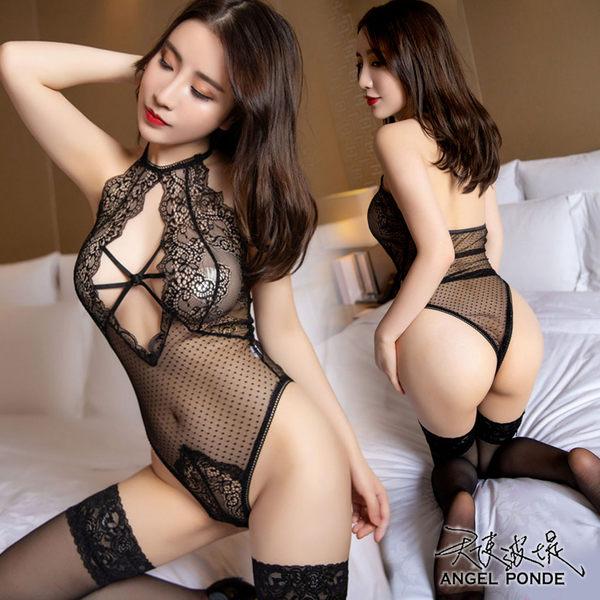 天使波堤【LD0450】透視誘惑塑身蕾絲點點透明綁帶掛脖開襠內衣網襪吊帶襪罩衫連身-黑色(一件式)