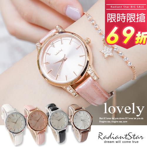 韓國WEIYA閃耀絲綢光柔媚水鑽真皮手錶【WWY0128】璀璨之星☆