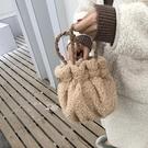 毛絨小包手提斜挎水桶包