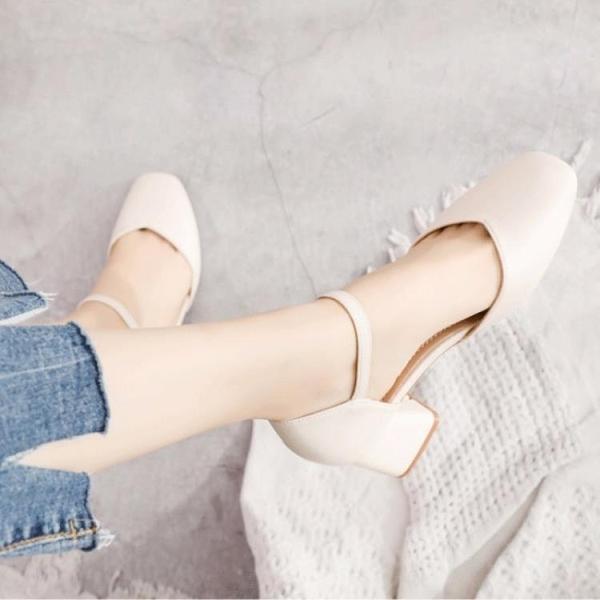 促銷九折 大東貍方頭包頭涼鞋女粗跟單鞋新款夏季百搭學生仙女風搭裙子