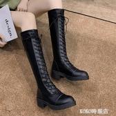 長靴女過膝秋冬新款英倫風百搭馬丁靴高筒騎士靴粗跟彈力女靴  koko時裝店