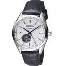 CITIZEN星辰紳士時尚開芯機械腕錶 NH9111-11A 銀x黑皮