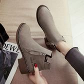 靴子 chic馬丁靴女英倫風小跟短靴及裸靴子女2018新款學生女靴春秋單靴