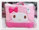 ♥小花花日本精品♥Hello Kitty 美樂蒂Melody手提外出袋收納袋棉質提袋大臉點點粉色 41099001