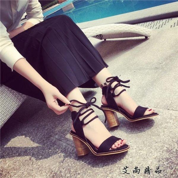 現貨JW 羅馬風高跟鞋露腳趾綁帶粗跟女鞋