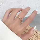 戒指女少女蝴蝶結開口啞光款時尚食指中指戒指【聚寶屋】