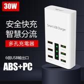 現貨 多孔充電器 6孔多功能旅行充電排插5V1A2A2.4A手機平板智慧30W多口USB充電器 自由角落