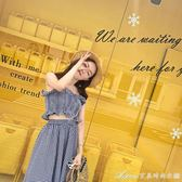 韓版度假風彈力無袖抹胸上衣大擺半身長裙兩件套格子洋裝套裝女艾美時尚衣櫥
