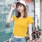 短袖t恤女緊身高腰露臍裝小個子短款衣服夏裝新款小衫【風之海】