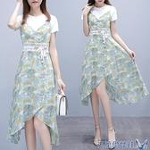 兩件套洋裝 名媛小香風雪紡碎花連身裙子女夏季套裝2021新款流行小個子兩件套 快速出貨