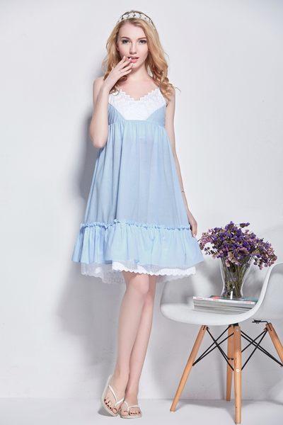 棉綢睡衣女夏季純色睡裙-dee0011