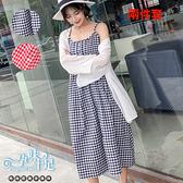 兩件式雪紡外套 格子吊帶孕婦洋裝 兩色【CQH280310】孕味十足 孕婦裝