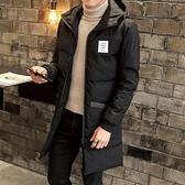 夾克外套-連帽純色中長版後背印花夾棉男外套2色73qa37[時尚巴黎]
