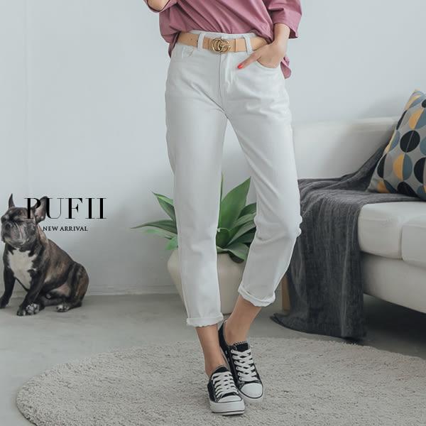 (現貨-白M.XL)PUFII-牛仔褲 單扣純白丹寧牛仔直筒褲 0412 現+預 春【CP14375】