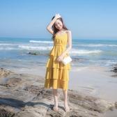 2020夏季新款女裝仙女裙chic溫柔長裙海邊度假裙蛋糕裙吊帶連身裙