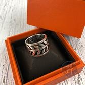 BRAND楓月 HERMES 愛馬仕 925純銀 簍空月桂葉 LOGO字樣 馬蹄鐵圖騰 寬版戒指 飾品 銀飾 #57