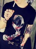 夏季男短袖t恤潮流韓版修身男士衣服潮牌上衣印花個性半袖t桖 朵拉朵衣櫥