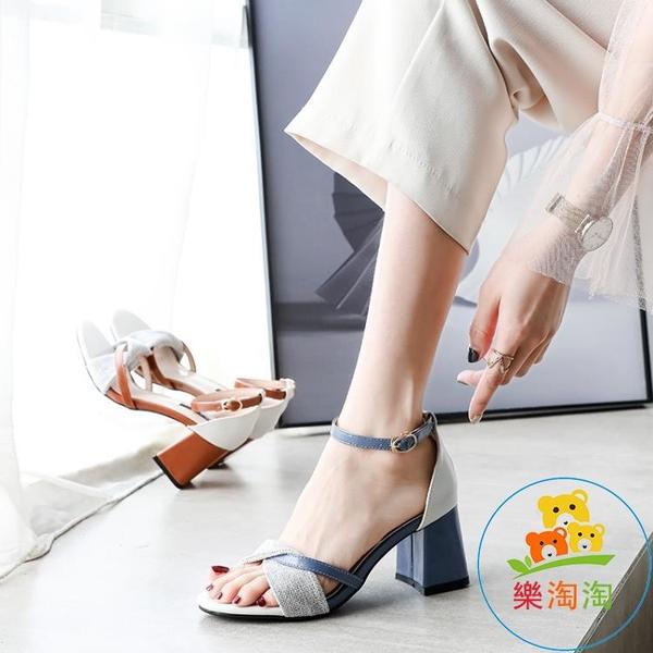 高跟鞋 粗跟涼鞋女韓版時尚百搭溫柔仙女風一字扣帶女夏季【樂淘淘】