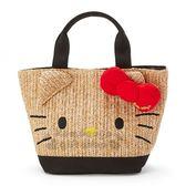 〔小禮堂〕Hello Kitty 藤編手提包《紅棕.立體大臉》編織包.海灘包.2019夏日大人服飾 4901610-80122