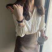 2020春裝新款韓版設計感小眾長袖上衣女寬鬆洋氣蕾絲打底襯衫夏季 智慧e家