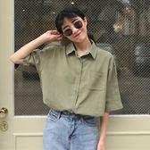 襯衫女韓國顯瘦百搭短袖口袋襯衫