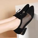 真皮涼鞋女2021新款夏季網紗鏤空系帶低跟粗跟尖頭媽媽單鞋涼鞋女 快速出貨