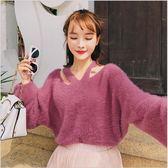 2018 新品 女裝 韓版 寬鬆 長袖 露肩 馬海毛 針織衫
