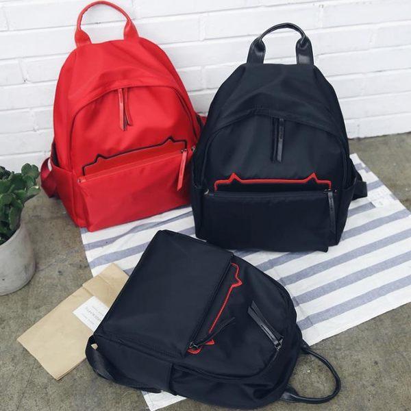 雙肩後背包 旅行包雙肩包女新款潮牛津布小貓百搭韓版時尚帆布書包女休閒背包包