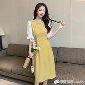 中袖洋裝 年夏款雪紡喇叭袖拼接假兩件長裙超仙甜美中袖少女黃色洋裝 檸檬衣舍