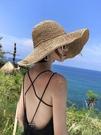 草帽女防曬沙灘太陽帽小清新遮陽帽海邊夏季大帽檐帽子韓版潮聖誕交換禮物
