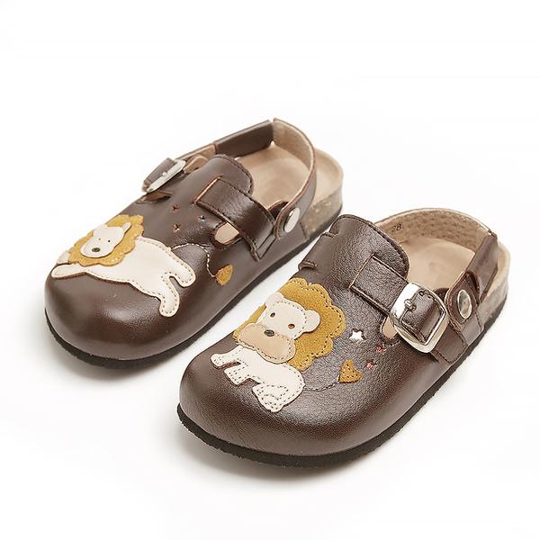 【Jingle】森林獅子王前包後空軟木休閒鞋(質感咖兒童款)