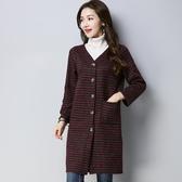 秋季新款韓版文藝復古長袖寬鬆外搭上衣修身長款毛衣薄款外套