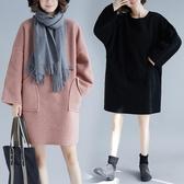 純色羊羔絨加厚保暖洋裝大尺碼女秋冬新款胖MM寬鬆百搭遮肉衛衣裙 週年慶降價