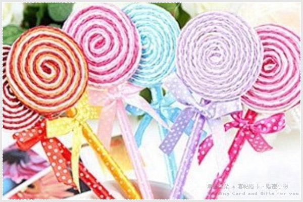 幸福朵朵*日韓文具-扁圓型棒棒糖原子筆.藍筆.韓國文具.zakka雜貨小物.婚禮小物批發價《不挑款》
