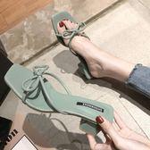 拖鞋女外穿 夏季 新款 時尚百搭中跟粗跟網紅穆勒高跟涼拖鞋 子潮 熱銷88折
