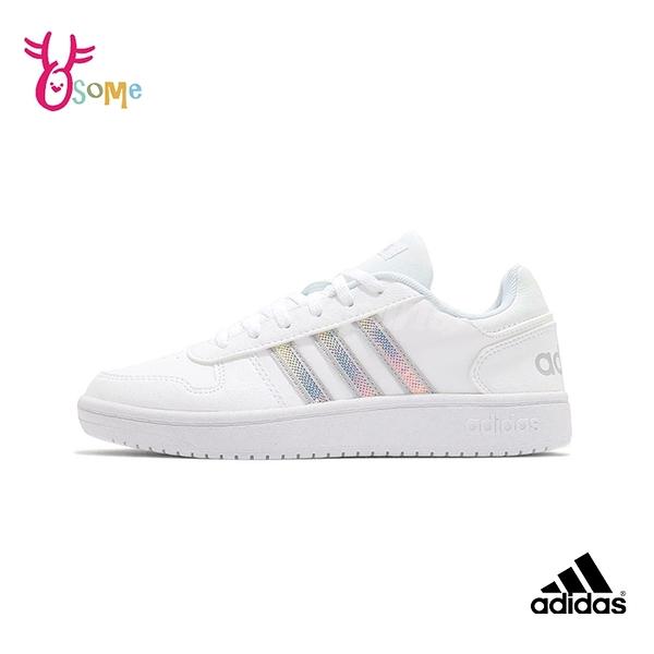 adidas休閒鞋 女鞋 HOOPS 2.0 光澤感三線 休閒運動鞋 基本款 復古百搭 S9396#白銀◆OSOME奧森鞋業
