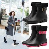 時尚雨靴女水鞋短筒加絨棉套雨鞋成人秋冬季防滑防水保暖膠鞋    歐韓時代