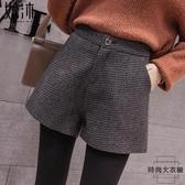 毛呢格子褲子女秋冬季高腰短褲秋款靴褲【時尚大衣櫥】
