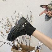 ins馬丁靴女英倫風學生韓版百搭2018夏新款厚底襪子鞋chic短筒靴