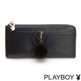 PLAYBOY- L型拉鍊長夾 跳躍毛毛兔系列-優雅黑