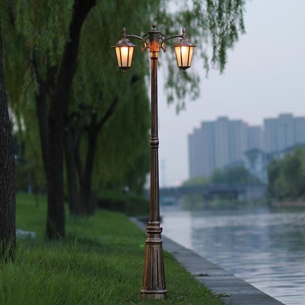 庭院燈別墅燈草坪路燈 復古雙頭歐式六角戶外燈高桿