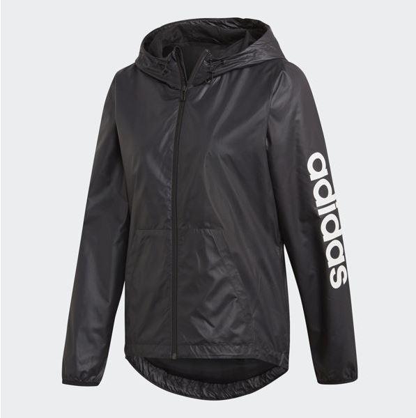 Adidas Essentials Linear Windbreaker 女款黑色風衣外套-NO.DP2408