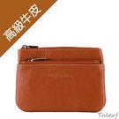 TALERF雙層拉鍊真皮零錢包(棕色) /牛皮 皮夾 包包